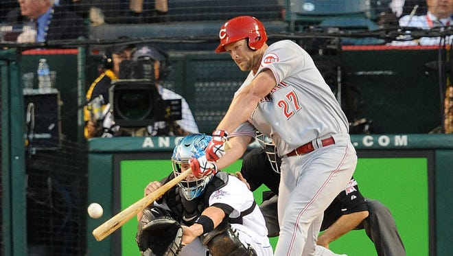 ANAHEIM, CA - JULY 13:  National League All-Star Scott Rolen #27 of the Cincinnati Reds at bat during the 81st MLB All-Star Game at Angel Stadium of Anaheim on July 13, 2010 in Anaheim, California.  (Photo by Lisa Blumenfeld/Getty Images)