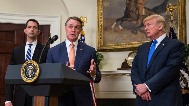 Sens. David Perdue and Tom Cotton announce their new immigration plan with President Trump.