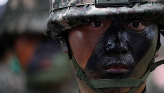 South Korean soldiers of the 52nd Division take part in an anti-terrorism drill during military drills with U.S. military forces in Seoul on Aug. 22.