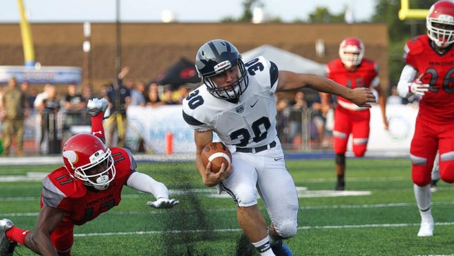 West Clermont High School's Austin Maham takes the ball down the field during the WCHS vs Princeton game at West Clermont High School on Friday Aug. 25, 2017. WCHS won the game with a final score of 28-13.