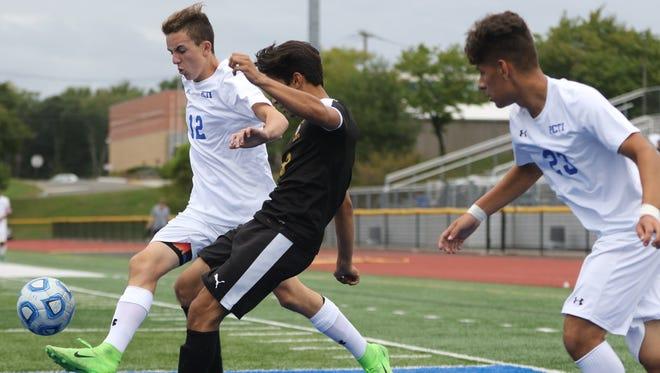 Ryan Letizia (12) scored a goal for Passaic Tech against Wayne Hills.