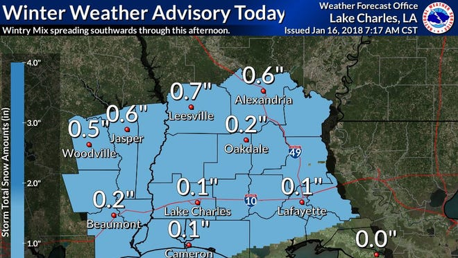 Potential snow accumulation for Tuesday.