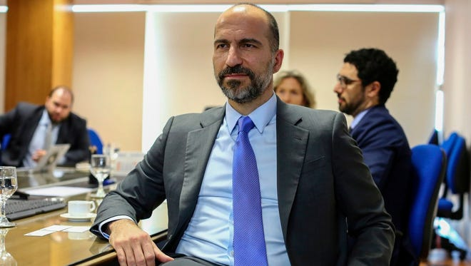 Uber CEO Dara Khosrowshahi attends a meeting with Brazilian Finance Minister Henrique Meirelles on Oct. 31, 2017, in Brasilia.