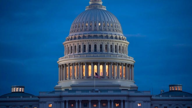The US Capitol Building is seen at dusk in Washington on Feb. 6.