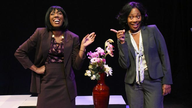 "Racquel McKenzie (left) and Lillie Richardson in Black Theatre Troupe's production of ""Lines in the Dust."""
