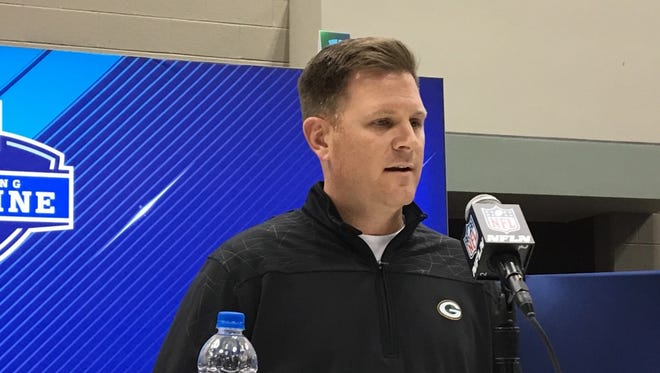Green Bay Packers general manager Brian Gutekunst speaks with the media at the NFL scouting combine on Feb. 28, 2018, in Indianapolis.