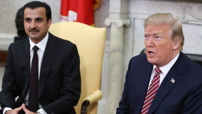 President Trump speaks at the White House on April 10 during a meeting with Emir of Qatar, Sheikh Tamim bin Hamad Al Thani.