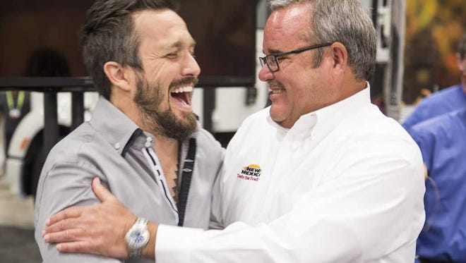 New Mexico Department of Agriculture Food and Beverage Specialist Dennis Hogan, right, was in the company of world renowned chef and former Top Chef star Fabio Viviani at the Shamrock Iron Chef Competition. NMDA is unveiling its NEW MEXICO—Taste the Tradition Chef Ambassador Program this summer.
