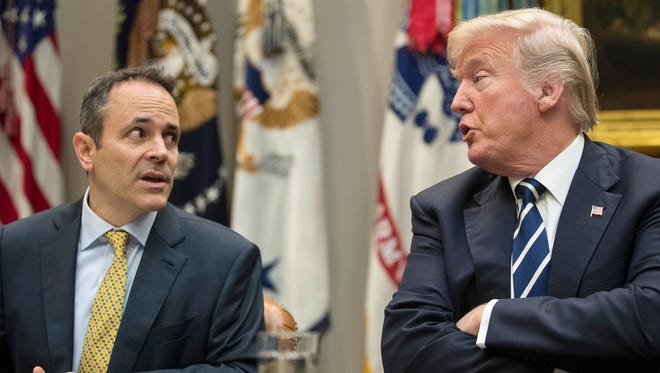 President Donald Trump and Kentucky Gov. Matt Bevin in Washington, DC, on January 11, 2018. The Trump administration allowed Kentucky to require Medicaid recipients to work.