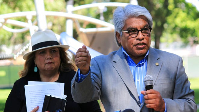 Regis Pecos, co-director of the Leadership Institute at the Santa Fe Indian School, talks about a court ruling focused on revamping New Mexico education policies and the public school funding system during a news conference in Albuquerque on Monday, July 23, 2018.