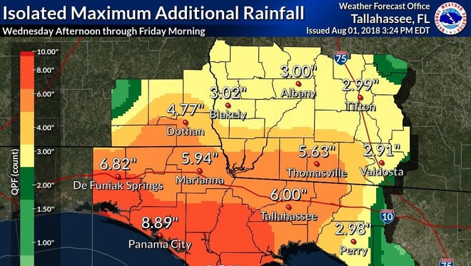 When all is said and done the Tallahassee area could see as much as 6 inches of rain by Friday morning.