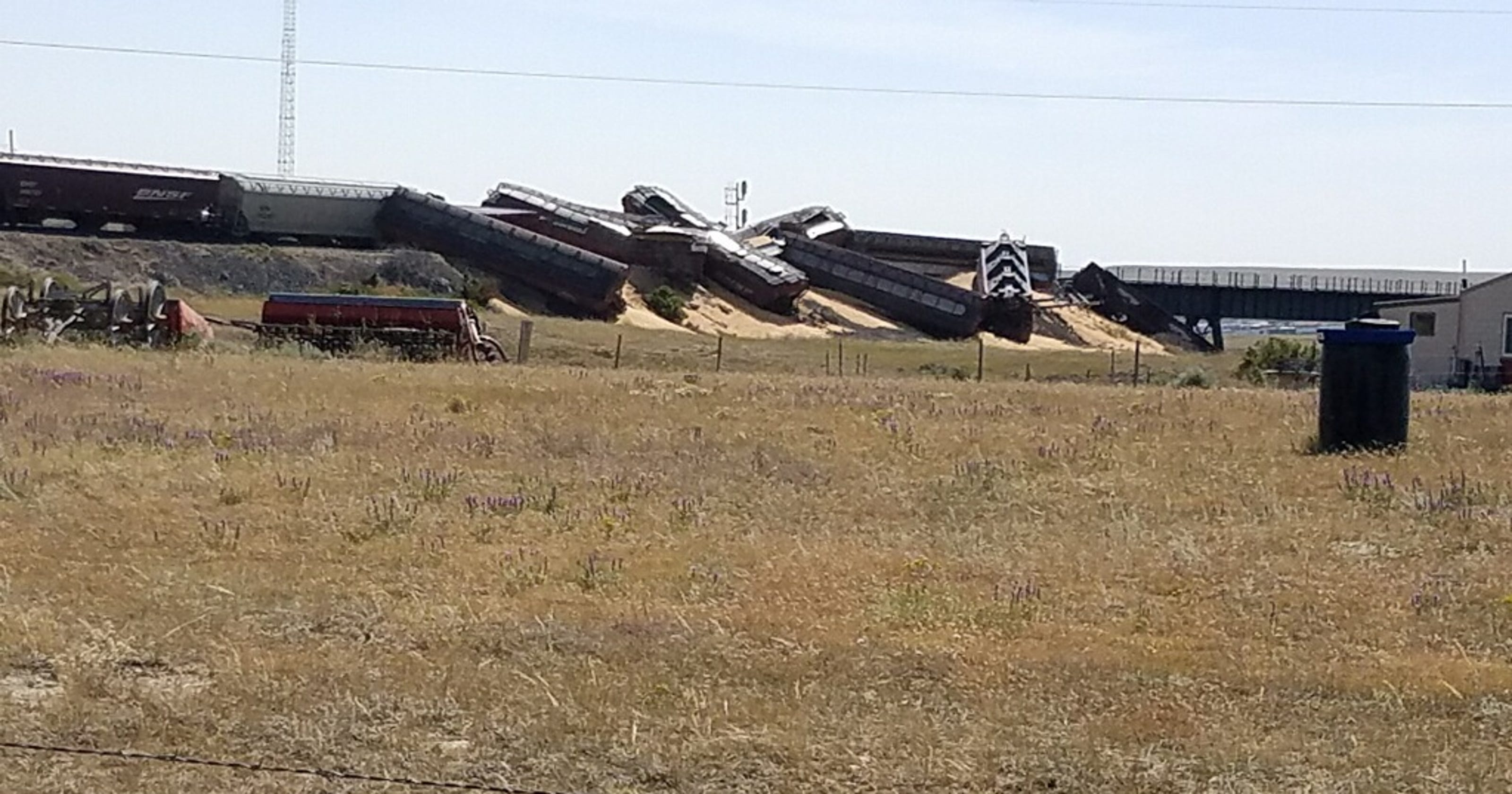 Dozen train cars derail near Cut Bank Creek spilling grain