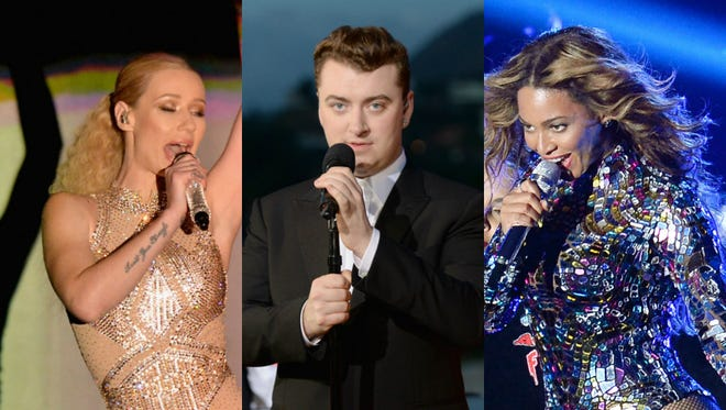 From left, Iggy Azalea, Sam Smith and Beyoncé are among the Grammy nominees announced Friday.