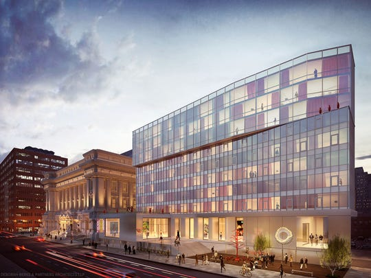 This artist's illustration shows the proposed $55 million redevelopment of Indianapolis' old City Hall and a new 21c Museum Hotel to be located next door. The project is expected to be finished by late 2017 or early 2018.