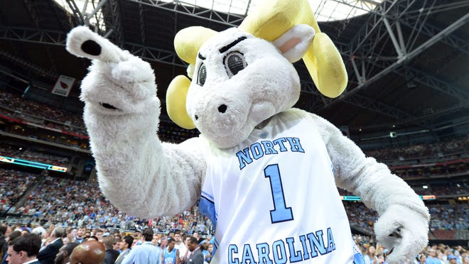 Apr 3, 2017; Phoenix, AZ, USA; The North Carolina Tar Heels mascot performs before the game against the Gonzaga Bulldogs in the championship game of the 2017 NCAA Men's Final Four at University of Phoenix Stadium. Mandatory Credit: Robert Deutsch-USA TODAY Sports ORG XMIT: USATSI-357179 ORIG FILE ID:  20170403_pjc_usa_010.JPG