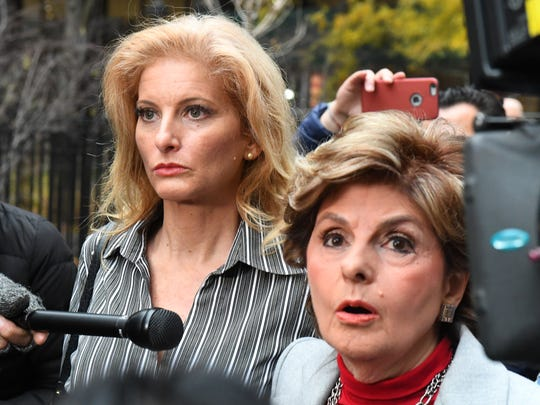 """Summer Zervos, a former contestant on """"The Apprentice,"""" with her lawyer, Gloria Allred, right. Zervos has accused the president of sexual misconduct, including kissing and groping her in the years after she left the show. She has filed suit against him, saying he made defamatory remarks about her after she came forward with her story."""