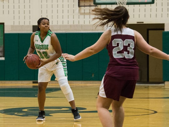 Parkside's Jacqueline Wright (32) moves the ball into