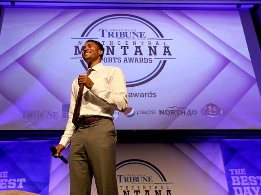 Josh Huestis spoke at the North Central Montana Sports Awards banquet May 22.
