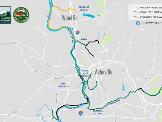 The gold line represents the proposed Woodfin greenway