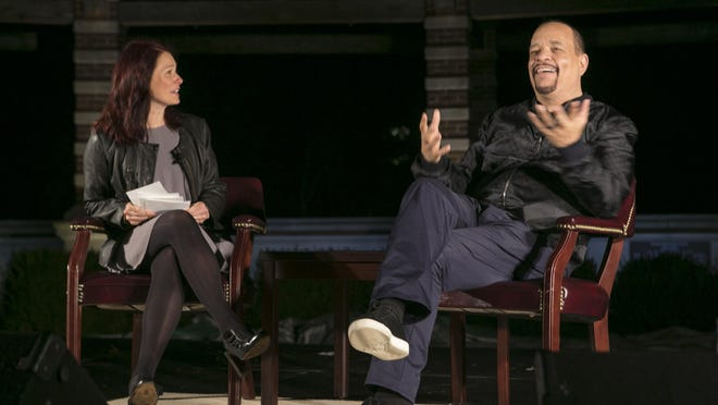 Ice T speaks with moderator April Patrick, director of Fairleigh Dickinson University's honors program, at FDU Wamfest Words and Music Festival in an outdoor amphitheater outside the Mansion, Hennessy Hall, Florham Park, NJ. Friday, Oct. 7, 2016. MOR 1007 Ice T speaks FDU