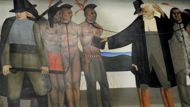 "The Hollis Holbrook mural, ""John Eliot Speaks to the Natick Indians,"" painted in 1937, is inside the Natick Post Office on Common Street."