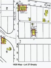 The 1920 Sanborn Fire Insurance Map of Lot 27. The Bella Flora House was listed at its former site.