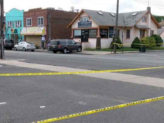 The area around the scene of a fatal shooting at the