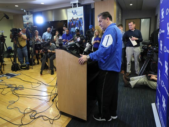 Kentucky coach John Caipari takes questions from reporters