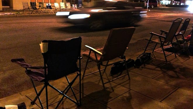 Chairs were placed along South Main Street to hold spaces for folks attending last year's Christmas parade in Downtown Chambersburg.