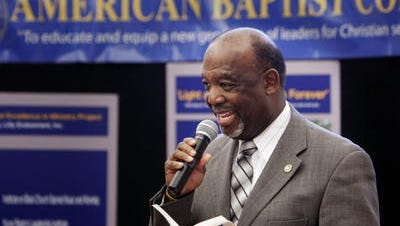 Pres. the American Baptist College, Forrest Harris, speaks before a panel discussion in 2008 on who will shape the meaning of America at the American Baptist College.