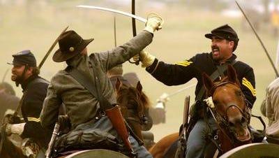 Re-enactment of the 1863 Battle of Gettysburg in the Civil War.