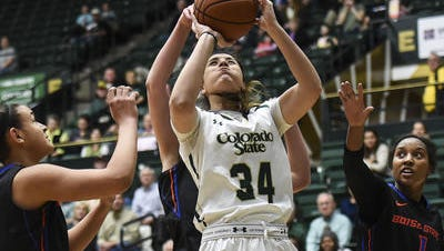 CSU's Alana Arias, shown in a file photo, posted a double-double with 14 points and 10 rebounds in the Rams' 60-57 road win at SDSU Wednesday night.