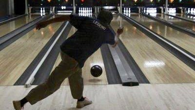 Mike McCue Sr. warms up for league night at Vernon Lanes in 2009.
