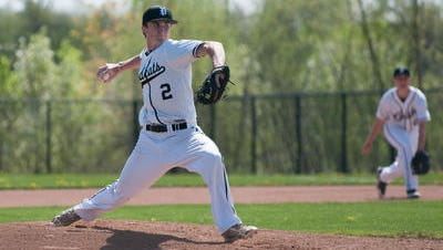 Firing the ball last season is Plymouth pitcher Cameron Stella. He is one of eight returning hurlers for the Wildcats.