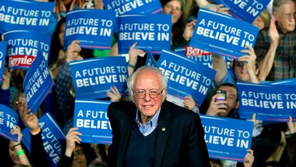 U.S. Sen. Bernie Sanders, I-Vt., arrives at a rally