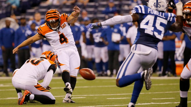 Cincinnati Bengals kicker Randy Bullock (4) fails to score on a field goal attempt in the fourth quarter of the NFL Preseason Week 4 game between the Indianapolis Colts and the Cincinnati Bengals at Lucas Oil Stadium on Aug. 31.