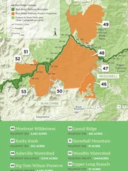 This map from the Conservation Trust for North Carolina shows some of the nearly 64,000 acres protected along the Blue Ridge Parkway last year. This map shows Buncombe, McDowell and Yancey counties.