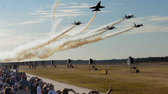 The Blue Angels perform for the crowd during their homecoming air show Saturday, Nov. 11, 2017, at Pensacola Naval Air Station.