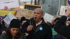 Senator Cory Booker spoke to the crowd and then joined