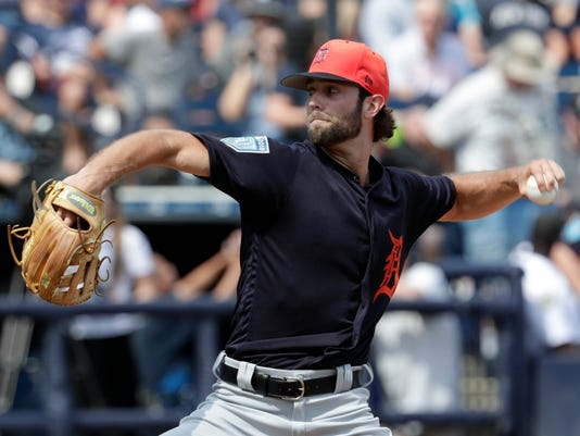 Detroit Tigers starting pitcher Daniel Norris delivers during the first inning of a baseball spring exhibition game against the New York Yankees, Wednesday, Feb. 28, 2018, in Tampa, Fla. (AP Photo/Lynne Sladky)