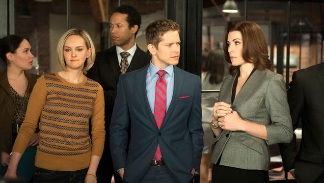 "Jess Weixler, Matt Czuchry and Julianna Margulies appear in a scene from ""The Good Wife."" Airing its season finale Sunday at 8 p.m., ""The Good Wife"" has replenished the stripped-bare courtroom genre with complex storylines that employ human relationships as much as legal brinksmanship."
