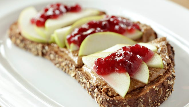 An almond butter, apple and jelly sandwich as made by chef Aaron Chamberlin of the Phoenix Public Market Cafe.