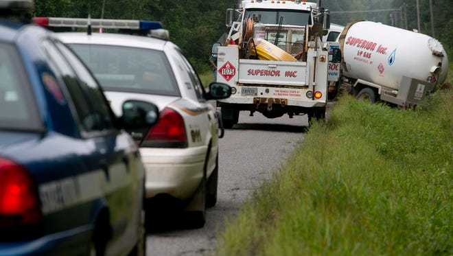 A Superior Gas propane tank truck in a ditch on Marsh Road near Highway E in the town of McMillian, Thursday, Aug. 28, 2014.