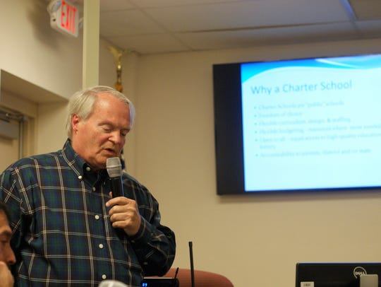 Ron Wolfe made a presentation on behalf of proposed charter school Care Academy at a March 8 special meeting of the school board.