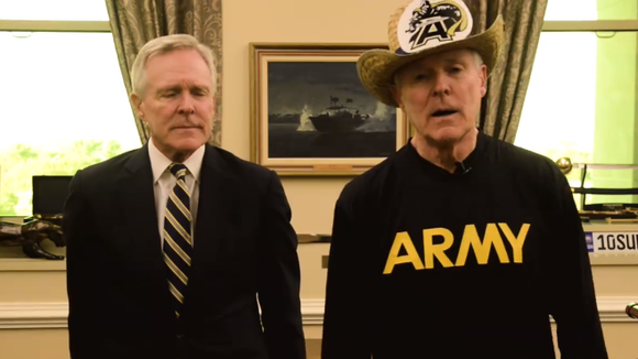 "SECNAV Ray Mabus, a Navy football fan, and ""Disappointed Ray Mabus,"" who roots for Army."