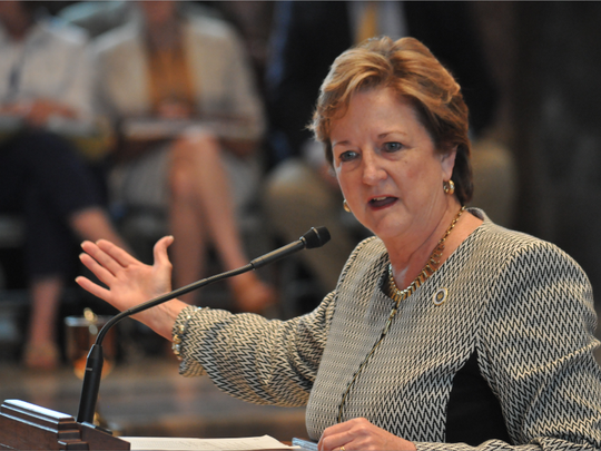 Sen. Sharon Hewitt led a panel through a review of all 370 statuary dedications a couple years ago.