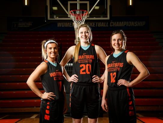 Wartburg women's basketball players Katie Sommer, Aryn