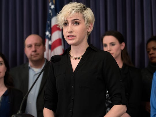 Amanda Thomashow, a survivor of Larry Nassar's abuse, during a press conference on Monday, Feb. 26, 2018, at the Michigan State Capitol in Lansing. Michigan state Sen. Margaret O'Brien, other lawmakers and Larry Nassar survivors held the press conference announcing upcoming Senate legislation to combat sexual assault.