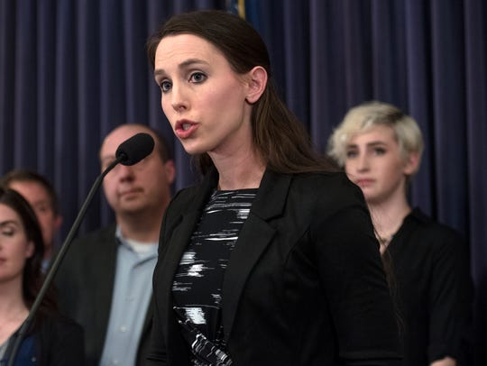 Rachael Denhollander speaks during a Feb. 26 press conference at the Michigan State Capitol as lawmakers announced upcoming legislation to combat sexual assault.