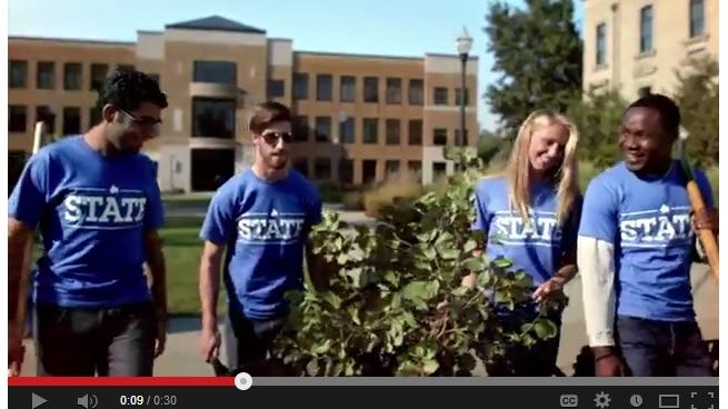 A commercial for Indiana State University aired locally in the Indianapolis market during the 2014 Super Bowl.